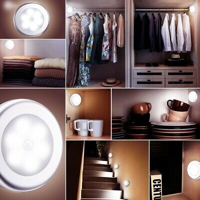Motion Sensor PIR 6 LED Closet Stair Light Cordless Battery Powered Night Light