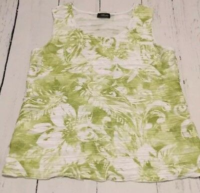 aff18b0fa77 Allura Tank Top Size Large Women's Green And White Floral Sleeveless Top