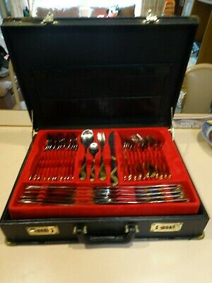 EDELSTAHL RUSTFREI 18/10 cutlery set.Briefcase canteen.71 piece.Setting for 12.
