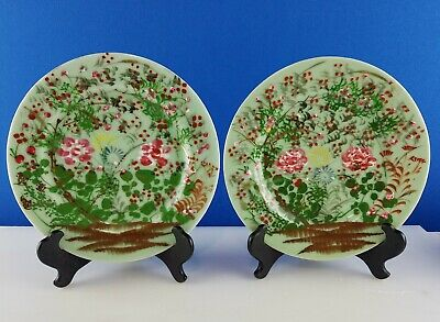 2 Antique Asian Porcelain Plates Celadon Seto Floral c 1900-1940 Japanese