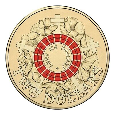 LEST WE FORGET - Limited Edition RED 2015 Anzac $2 Coin Two Dollar Coin