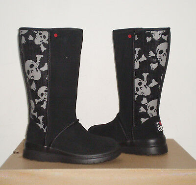 9a7939d9954 UGG I HEART Kisses Tall Sequins Skull Boot 4US BLACK (fits Girl 2) NWOB $149