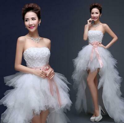 Womens Lace Slim Fit Tail Feather Bride Wedding White Off Shoulder Groom Dress