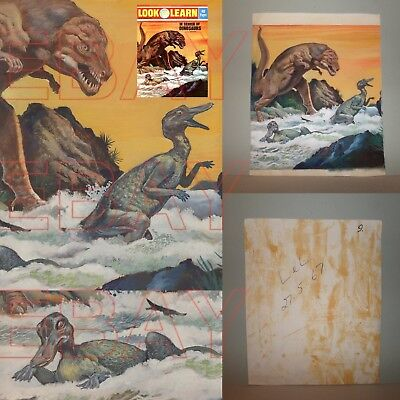 1972 LOOK AND  LEARN 541 Dinosaur ORIGINAL Cover artwork TYRANNOSAURUS REX L@@K