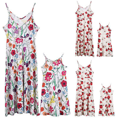Family Clothes Mother Daughter Dresses Womens Girls Floral Long Maxi Dress UK