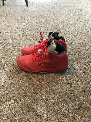b56aaf930c6 NIKE AIR JORDAN Retro V Red Suede Flight Suit Raging Bull Size 12 ...