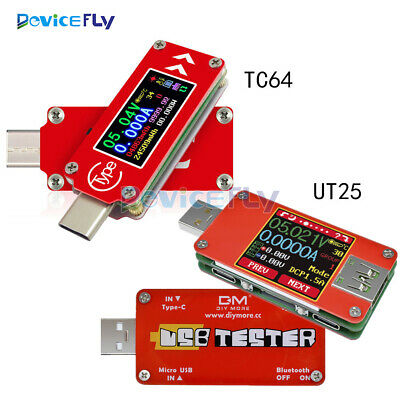 "1.44"" UT25 TC64 USB-C LCD Full Color Current Voltage Power Capacity Meter Tester"