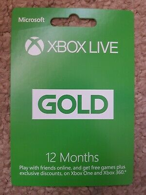 Microsoft Xbox 360 Xbox one Live Gold 12 Month Membership Card