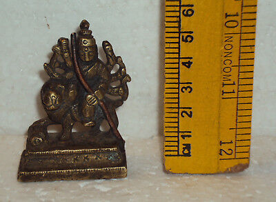 Antique Traditional Indian Ritual Bronze Goddess Durga MahishasurMardini Rare #3