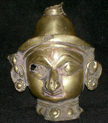 Antique Traditional Indian Ritual Bronze Mask Goddess Parvati Rare