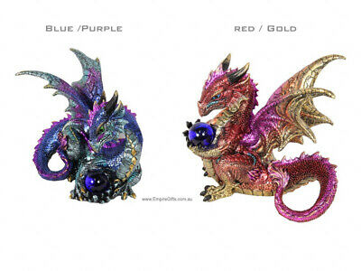 1 x Dragon Statue Figurine Guardian Dragon Mythical Blue/Purple
