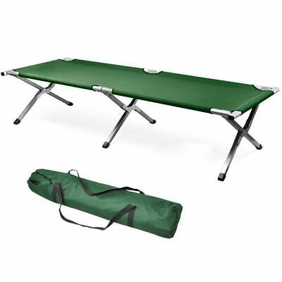 Green Fold up Bed, Folding, Portable for Camping, Military Style w/Bag