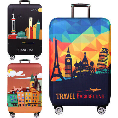 """Elastic Luggage Protective Cover 18~ 32"""" Printed Suitcase Protector Anti Scratch"""