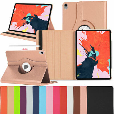 """360 Rotating Leather Smart Case Support Pencil Charging For iPad Pro 11"""" 2018"""
