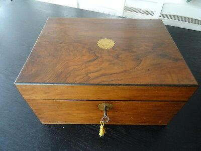 Antique Victorian Walnut Sewing   Wooden Writers Box (329)