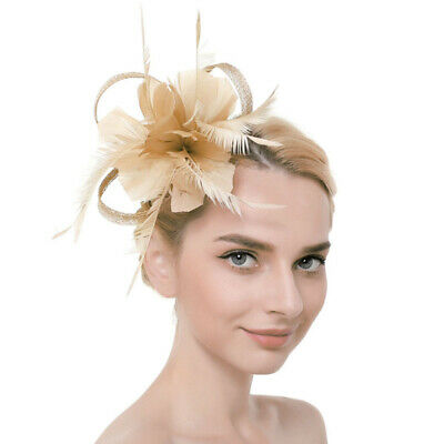 Nude Large Clip Feather Fascinator Ladies Day Wedding Races Royal Ascot UK