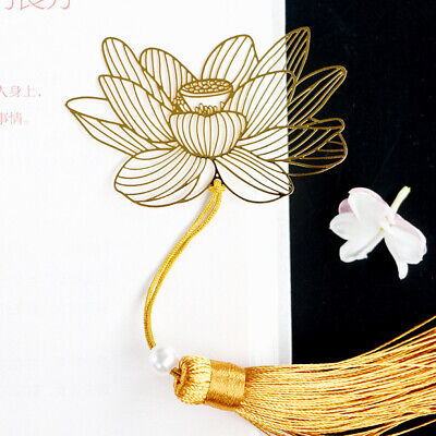 Chinese Style Creative Metal Bookmark Lotus With Tassel For Book Reading Gift