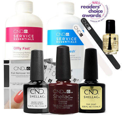 CND Shellac Starter Kit, Top/Base/Essentials/Color Oxblood