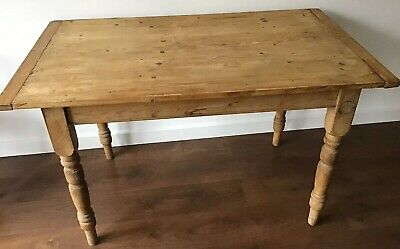 Vintage Farmhouse Pine Kitchen Table, With Side Drawer