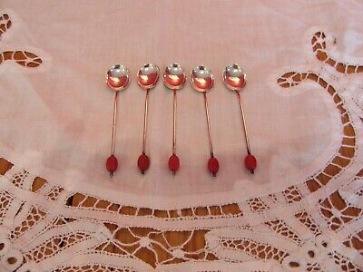 Vintage EPNS silver plated Red  Coffee bean tea spoons x 5