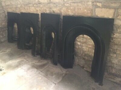 Ornate Decorated English  Victorian Cast Iron Fireplace Farmhouse Cottage
