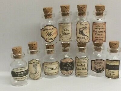 11 X  Dolls House  Harry Potter Wizard Inspired Potion Bottle Set