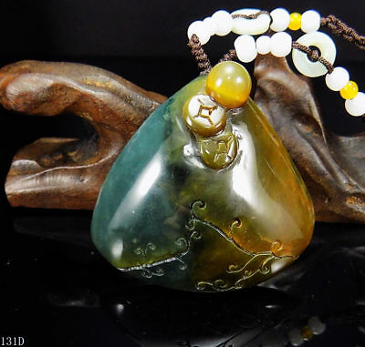 100% Natural Hand-carved Chinese Jade Pendant jadeite Necklace shell&coin 131d