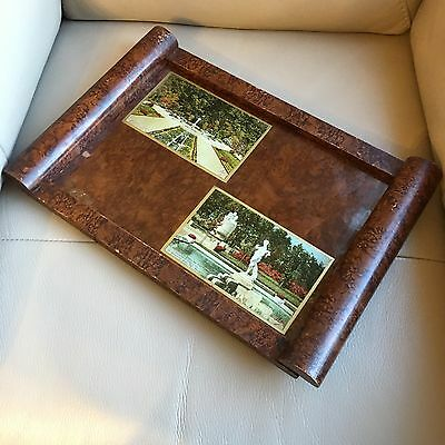 Antique Edwardian Tray Arts Crafts Brown Lacquered Serving Hand Tinted Postcards
