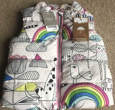 NEXT Baby Girls Warm Thick Quilted Rainbow Unicorn Gillet Coat New 9-12 Months