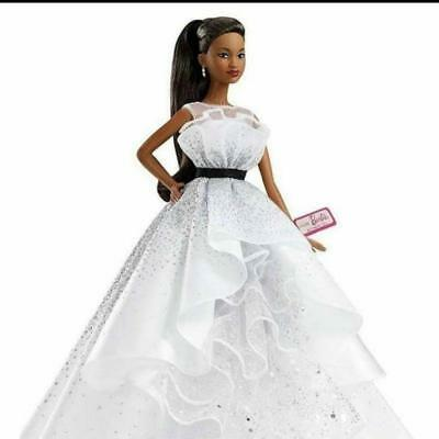60th Anniversary Barbie Doll African White Dress Limited Ships Worldwide