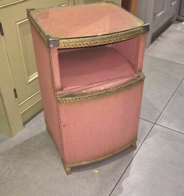 Unrestored Lloyd Loom pink and gold cabinet