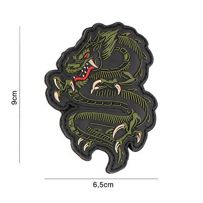 Airsoft morale patch 3D PVC DRAGON GREEN  5089