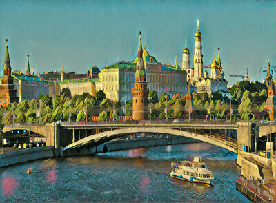 """Russia Moscow City Kremlin. Abstract Landscape Painting Giclee Canvas 16""""x20"""""""