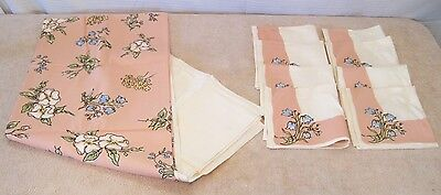 """Kate Greenaway 8 Napkins & 60"""" X 80"""" Tablecloth Flowers Leacock Floral Cloth"""