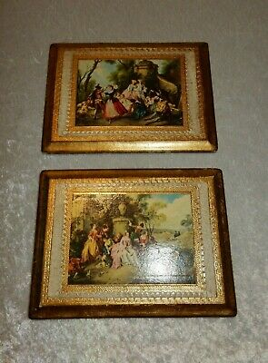Lot of 2 Vintage Victorian Architectural Gilt Wood Plaques - Italy