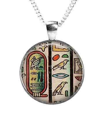 Ancient EGYPTIAN Hieroglyphic - Glass Picture Pendant + Chain–Silver Plated(BC3)