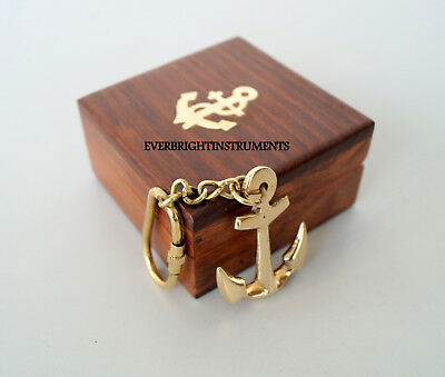 Solid Brass Nautical Pirate Maritime Anchor Key Chain Ring With Wooden Box Gift