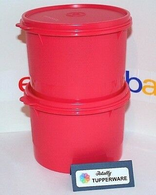 Tupperware Canisters Set of 2 Stacking Containers 5 Cups Watermelon Red Airtight