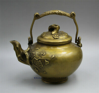 Collection Rare Chinese Brass Hand-carved Plum Teapot