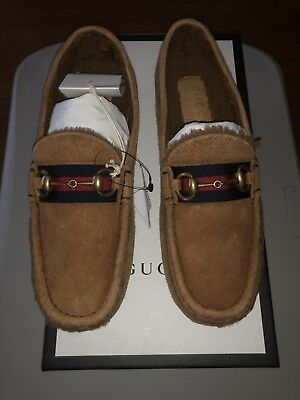9fdb14868 $760 NEW Men's Gucci Horsebit Driver Shearling Suede Fur 9.5 US 100%  Authentic