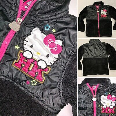 Hello Kitty Black Soft Polyster Coat Jacket Girls Youth Size 4 Spell Out