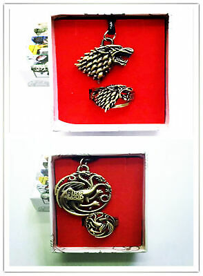 Anime Game of thrones Logo Ring New Metal Pendant necklace 2pcs set in box