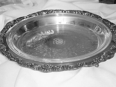 """Antique Poole Silver Plate Baroque 14"""" Footed Pie Tray  w/11"""" Pyrex Glass Insert"""