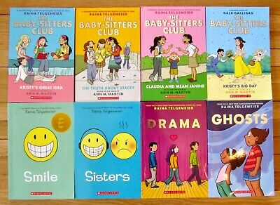 Lot 8 RAINA TELGEMEIER Graphic Novels Sisters Smile Ghosts Baby Sitters Club L1