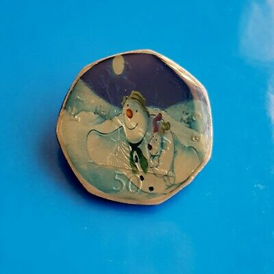 ENAMELLED COIN SNOWMAN AND DOG COLOURED 50p UK BRITAIN