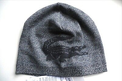 71ee2080b LACOSTE Crocodile 100% Merino Wool Dark Navy REVERSIBLE Skull BEANIE HAT  Tags
