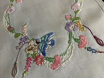 Beautiful Vintage Linen Hand Embroidered Tray Cloth ~ Blue Bird/sweet Peas/flora
