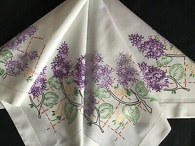 Lovely Vintage Hand Embroidered Tablecloth ~ Lilac Blossoms