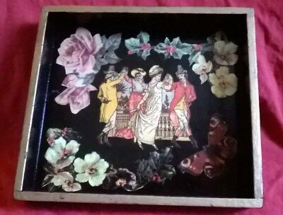 vintage laquer tray with tranfers