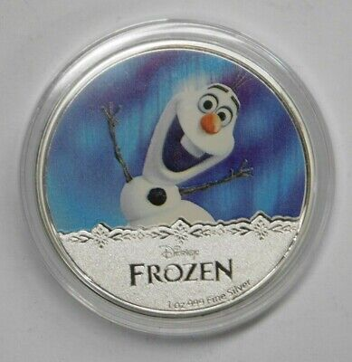 2016  Disney Frozen  Olaf  1 oz Silver Proof Coin In Capsule New Zealand Mint
